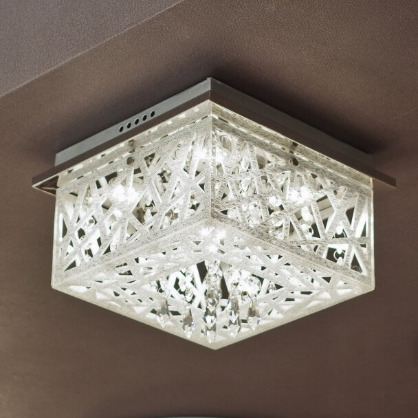Led Chrome Ceiling Light With Crystals Igloo