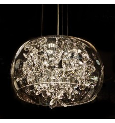Glass Pendant Light with crystals - Juno