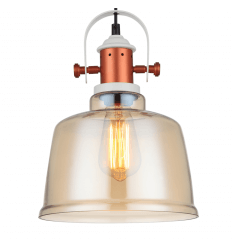 Modern Industrial Pendant Light with Amber Shade - Dalia