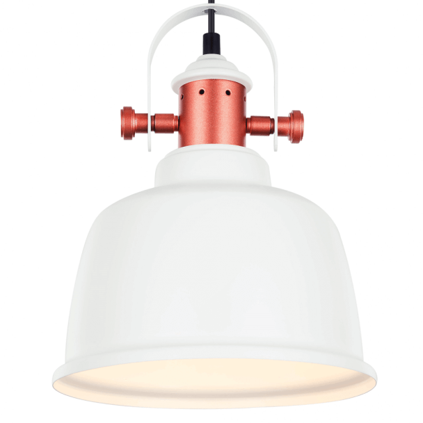 Modern Industrial Pendant Light with White Shade - Dalia