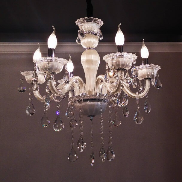 Pendant light crystal white 6 lights - Roma