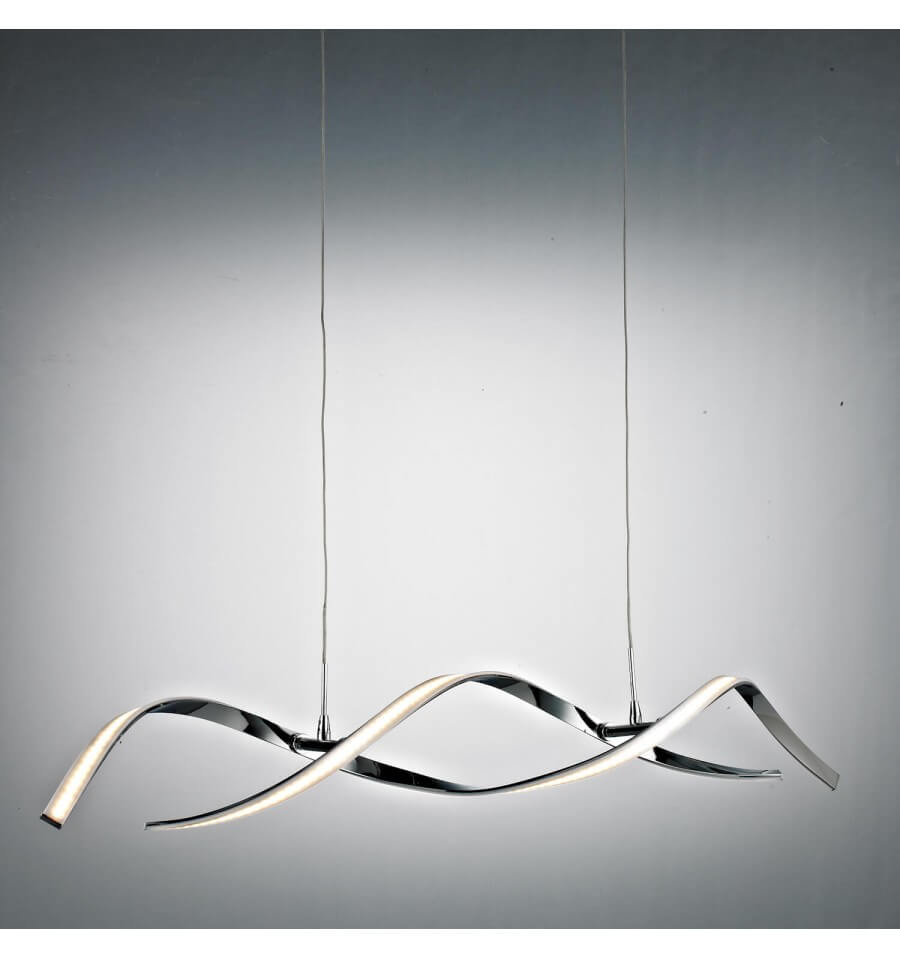 Pendant Light Led Design 2 Long Wavy Bars 110 Cm 20w Galba