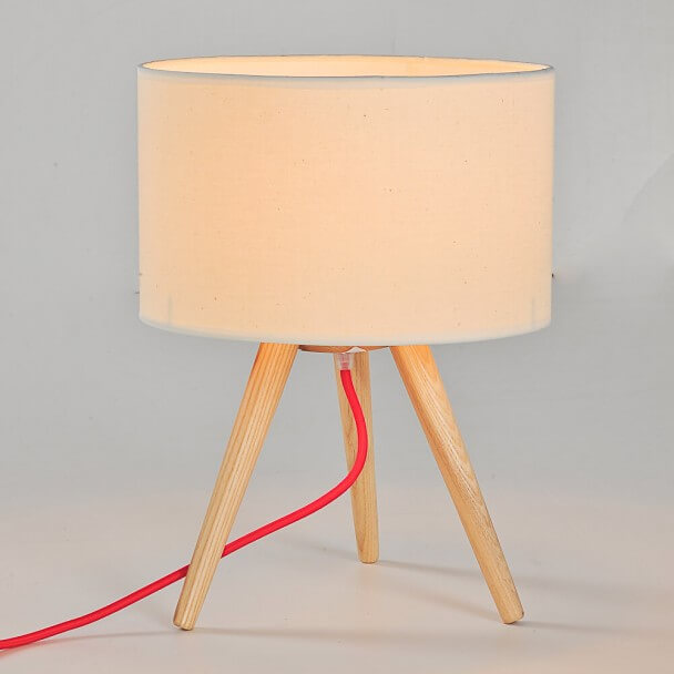 Wooden Tripod Table Lamp with Cream Shade - Helga