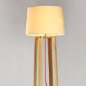 Wooden Modern Tripod Floor Lamp with Linen Shade - Elen