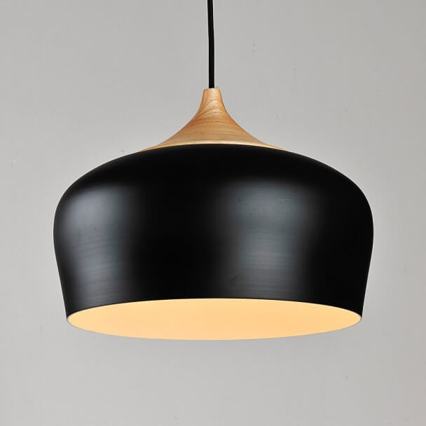 Modern industrial pendant light made of wood and black metal heda contemporary pendant light made of black metal and wood heda aloadofball Gallery