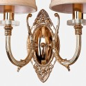 Vintage Gold Double Wall Light with Cream Shade - Nancy