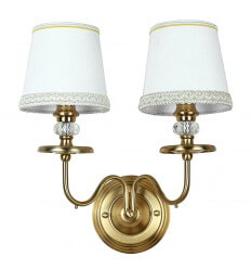 Retro Bronze Double Wall Light with White Shade - Fadia
