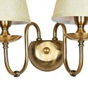 Vintage Bronze Double Wall Light with Fabric Shade - Calida