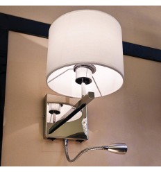 Contemporary Wall Mounted Reading Light Made of Chrome and Fabric - Winter
