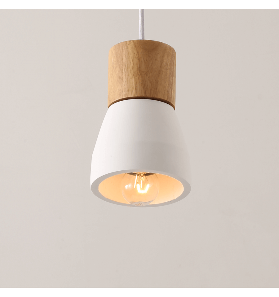 Minimalist Pendant Light Made Of White Concrete Vika