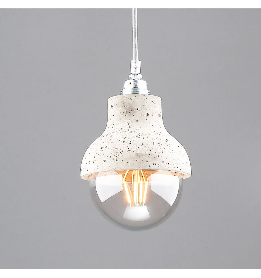 Cement modern pendant light one free bulb utto for Suspension 4 ampoules
