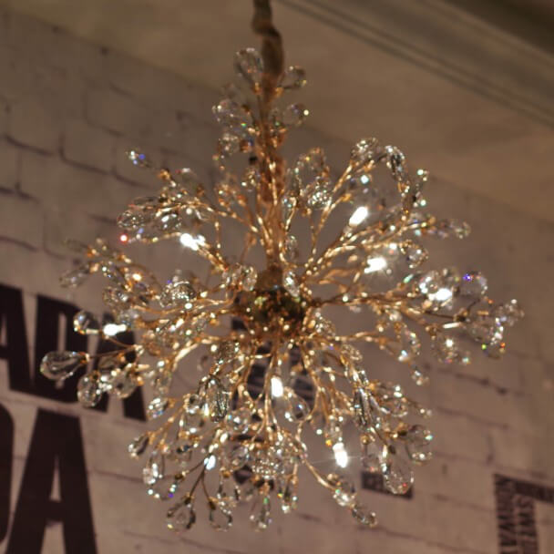 Crystal Golden Pendant Light (remote included) - Eve