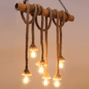 Bamboo and Hemp pendant 6 lights - Zephyr