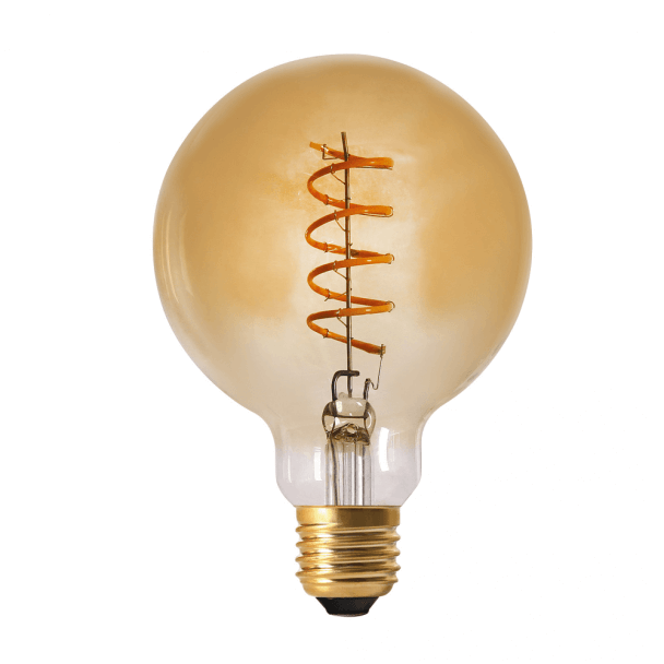 Globe Light bulb LED E27 Amber squirmy filament - 4W