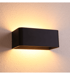 Matt Black Wall Light LED - Quadra 20 cm