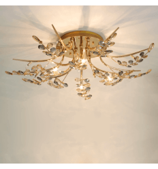 Guilded Ceiling light crystal 80 cm with remote control - Hilda