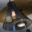 Lamp with smoked cone shade - Reflesia