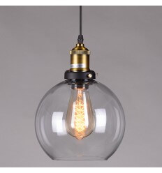 Pendant light - design bal bol transparent glass - Olivia