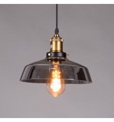 pendant light smoked black glass - Zina