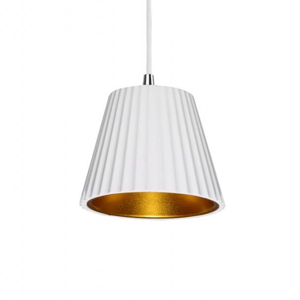 White plaster pendant and gold interior - Aro