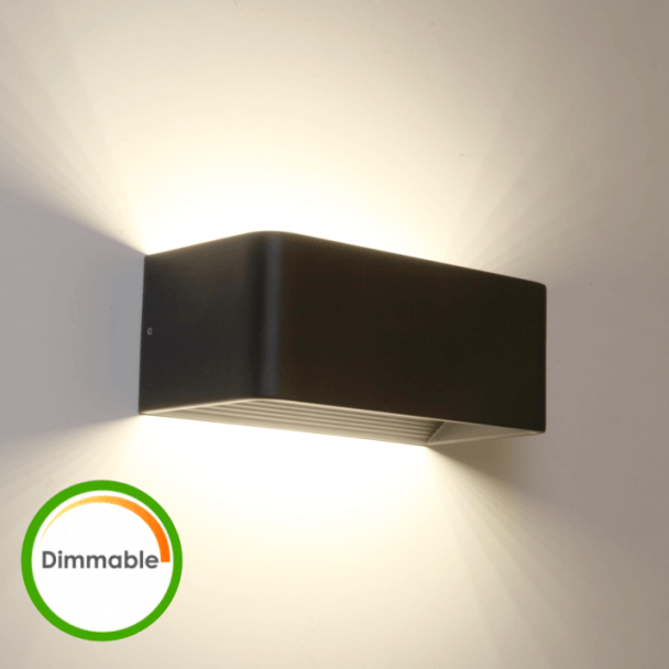 Black LED wall lamp with dimmer - Quadra