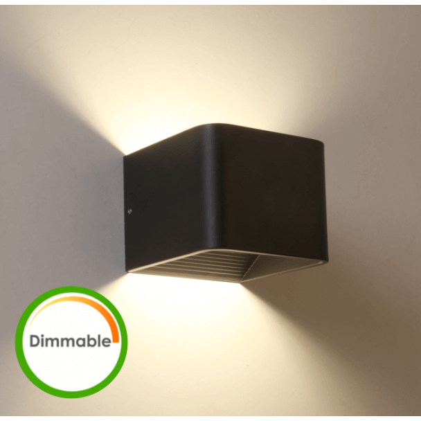 Black LED dimmer compatible wall light - Quadra