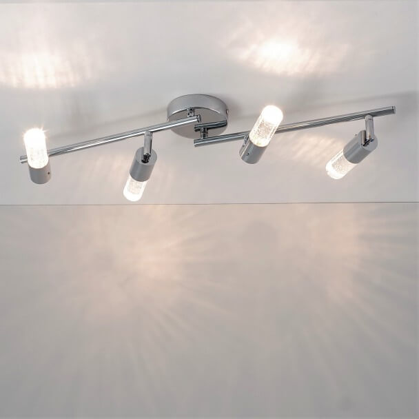 Chromed LED Ceiling light with 4 spotlights - San Francisco