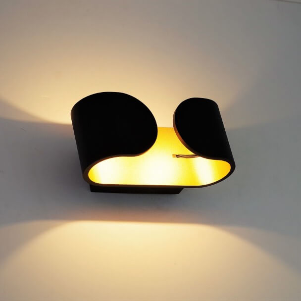 LED wall light with gilded reflected light - Black Brighton