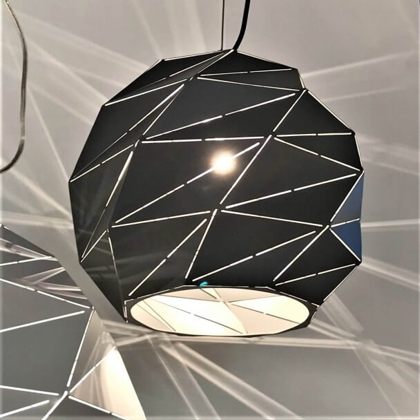 Black polygon modern pendant light - Amos