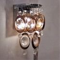 Wall light with multiple copper rings and crystal pendants - Cardiff