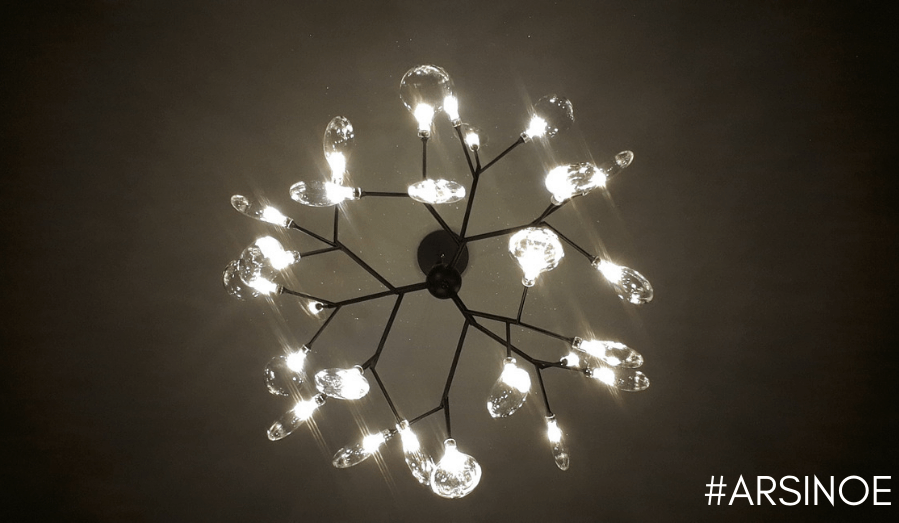 Pendant light with multiple black branches and glass leaves - Arsinoe