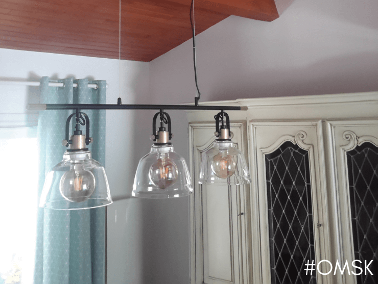 Pendant light with three transparent bell-shaped lamps - Omsk
