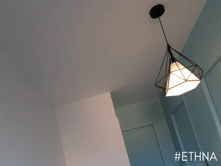 Industrial Pendant Light Black Cage & Fabric Shade - Ethna